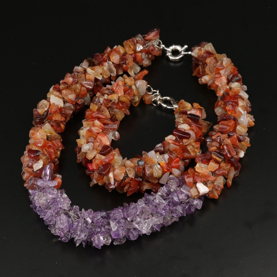 Agate Necklace and Bracelet Set with Amethyst