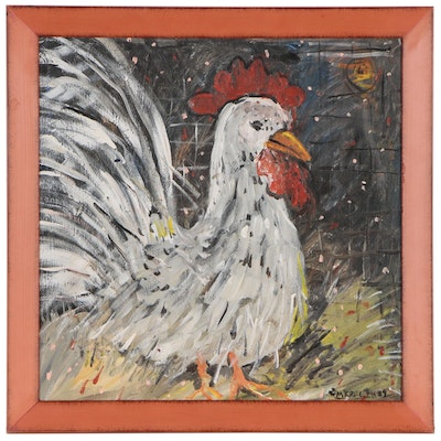 Mike Creech Folk Art Acrylic Painting of Rooster