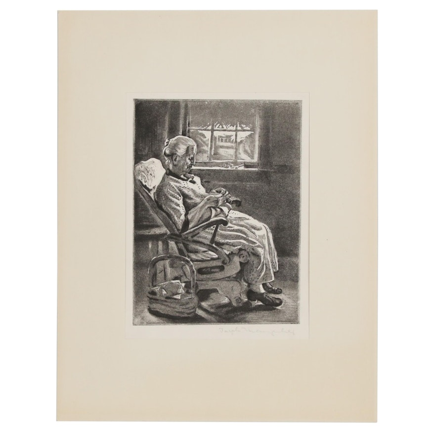 Lithograph of a Woman Knitting, 20th Century