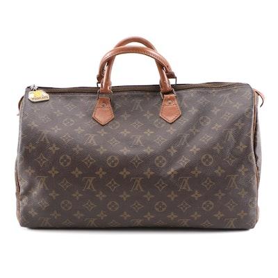 Refurbished Louis Vuitton Speedy 40 Handbag in Monogram Canvas and Leather