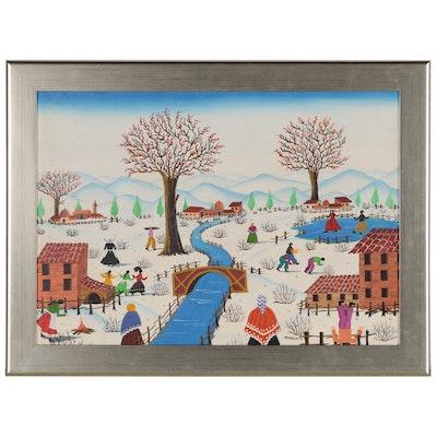"Tonia Pelumseus Folk Art Acrylic Painting ""Snow Scene"", 1977"
