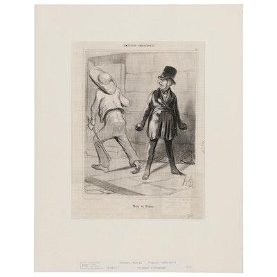 """Honoré Daumier Lithograph """"Noir et Blanc,"""" 19th Century"""