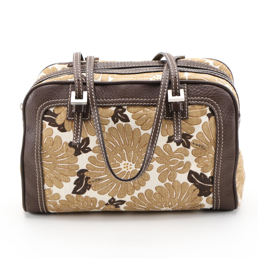 Fendi Floral Print Canvas Shoulder Bag with Brown Leather Trim