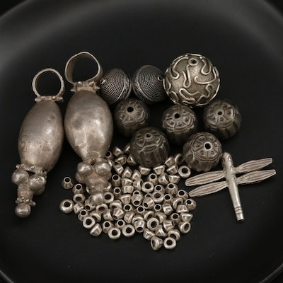 Omani and Thai Style Beads and Pendants Including Sterling and 800 Silver
