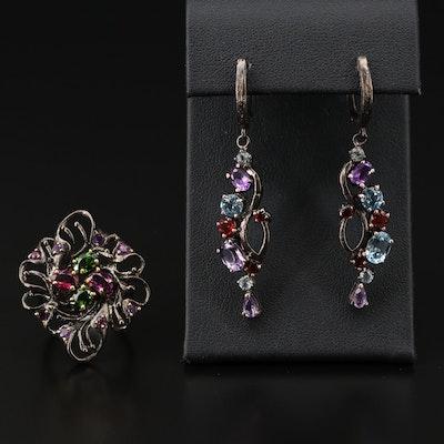 Sterling Silver, Amethyst, Rhodolite Garnet and Topaz Ring and Earrings