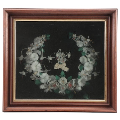Victorian Feather Mourning Wreath in Shadowbox Frame, Late 19th Century