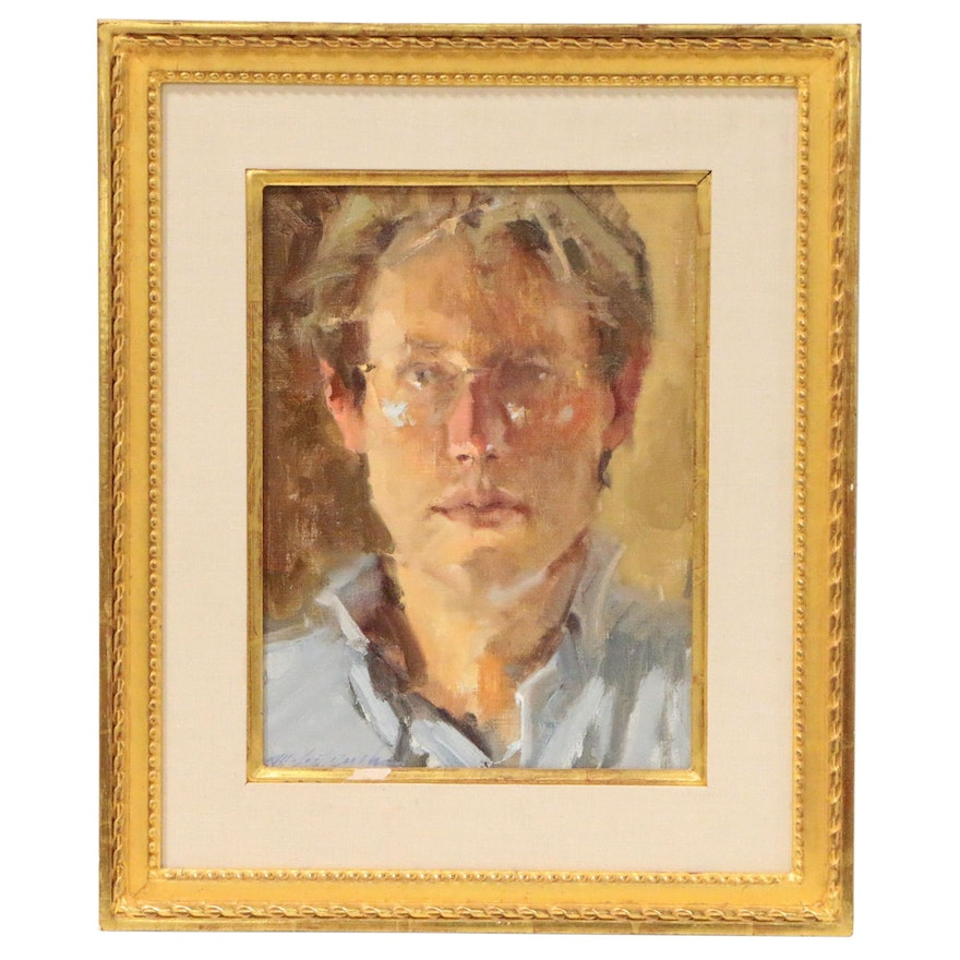 "Michael J. Lynch Oil Painting ""Self Portrait"", 1980"