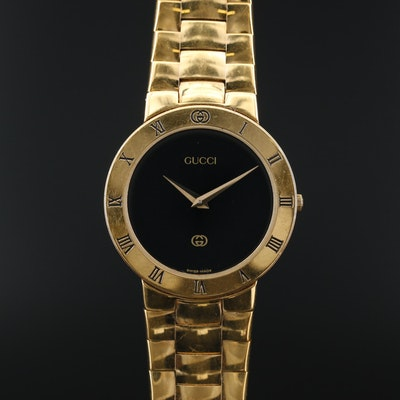 Gucci Swiss Gold Tone Quartz Wristwatch