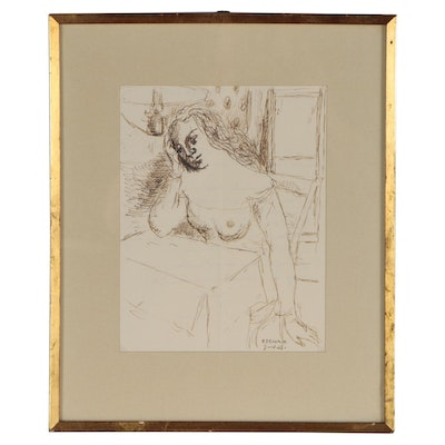 Paul Delvaux Ink Drawing of Female Nude and Letter, 1966