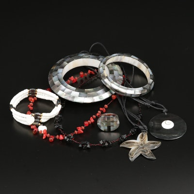 Jewelry Selection Featuring Mother of Pearl, Shell, and Hematite