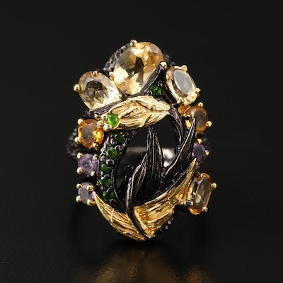 Sterling Silver Citrine, Diopside and Amethyst Ring