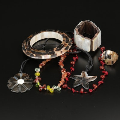Jewelry Selection Featuring Mother of Pearl, Shell, and Agate