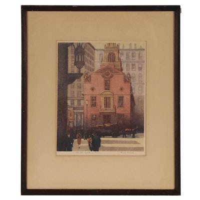 "Louis Novak Color Woodcut ""The Old State House, Boston"""