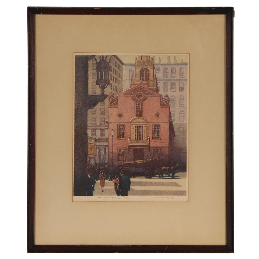 """Louis Novak Color Woodcut """"The Old State House, Boston"""""""