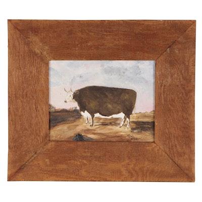 "Bob McAdams Folk Art Oil Painting ""Stout Cow"""