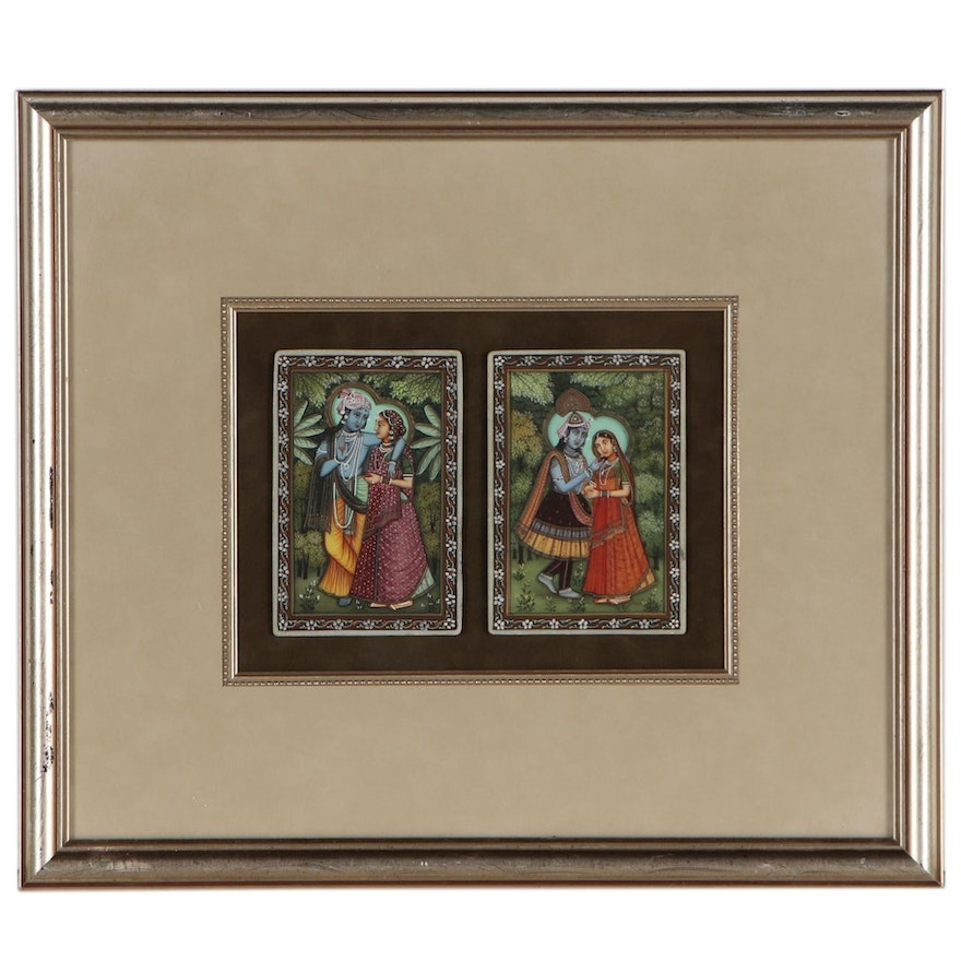 Indian Gouache Paintings on Stone Depicting Krishna and Radha