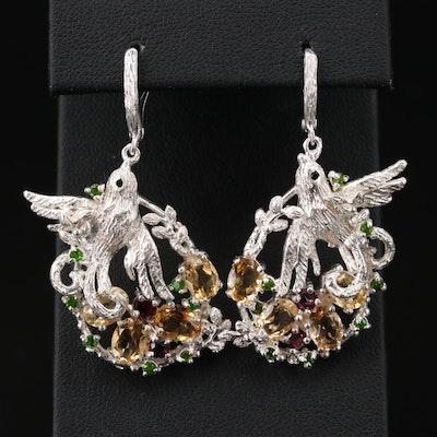 Sterling Silver Citrine, Rhodolite and Diopside Bird Earrings