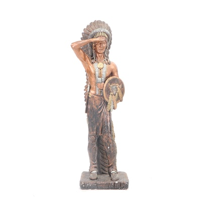 Native American Chalkware Figure, Late 20th Century