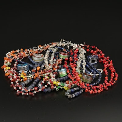 Necklace and Ring Collection Featuring Murano Art Glass, Labradorite and Agate