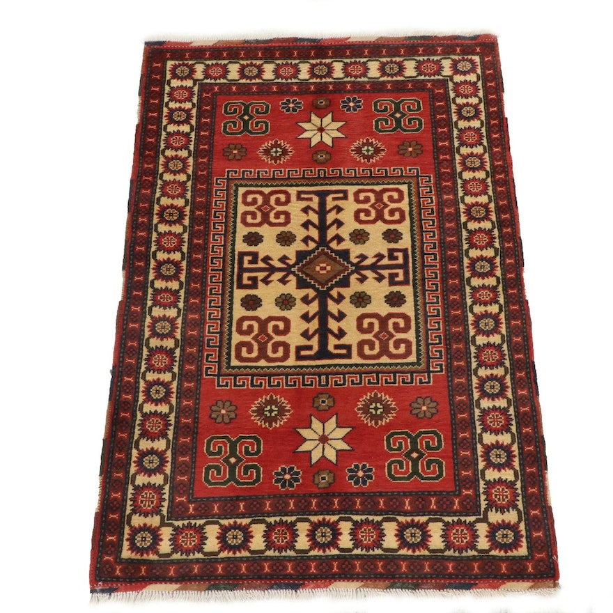 3'7 x 5'5 Hand-Knotted Afghani Tribal Turkmen Rug