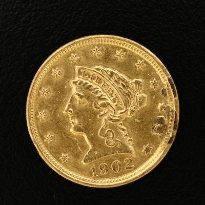 1902 Liberty Head $2.50 Quarter Eagle Gold Coin