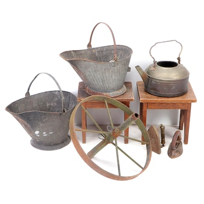 Metal Coal Buckets, Sad Irons, Kettle, and More