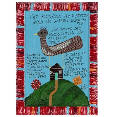 "Jim Gary Phillips Folk Art Acrylic Painting ""The KooKoo"""