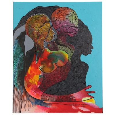 "Abiola Idowu Mixed Media Painting ""New Song II"""