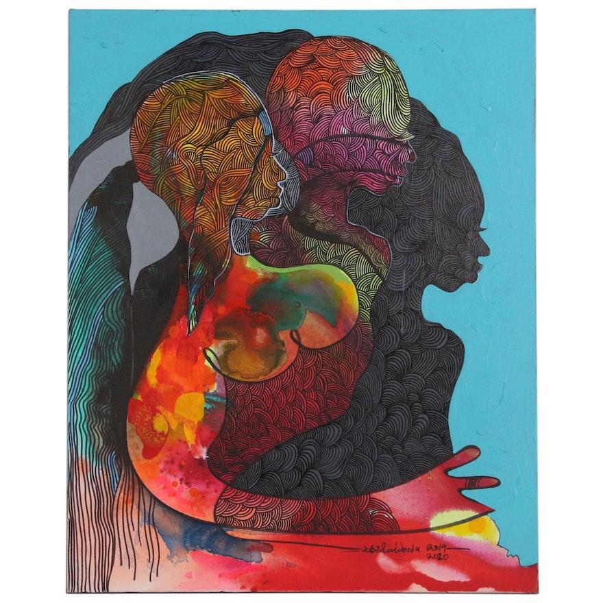"""Abiola Idowu Mixed Media Painting """"New Song II"""""""