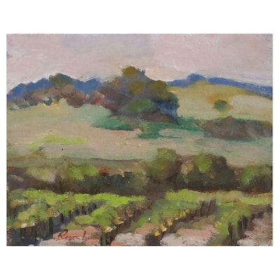 Sally Rosenbaum Vineyard Landscape Oil Painting