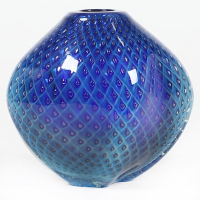"Robert Eickholt Handblown ""Diamond Quilt"" Art Glass Pod Vase, 2013"