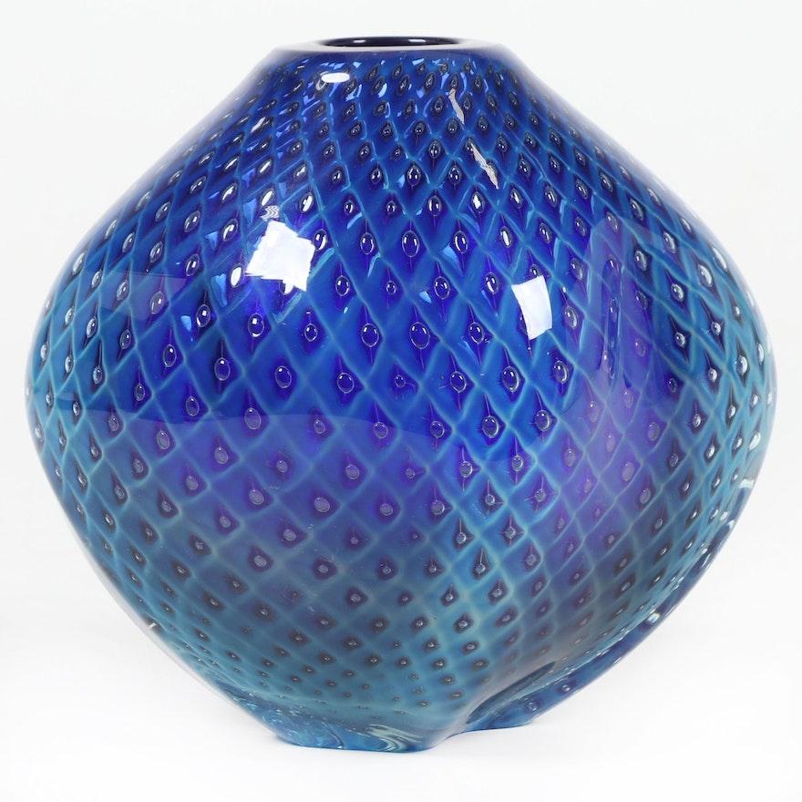 """Robert Eickholt Handblown """"Diamond Quilt"""" Art Glass Pod Vase, 2013"""