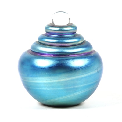 Robert Eickholt Handblown Blue Iridescent Art Glass Paperweight