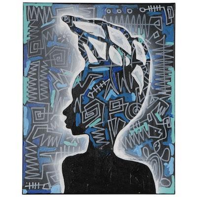 """Abiola Idowu Mixed Media Painting """"Antenatal III"""""""