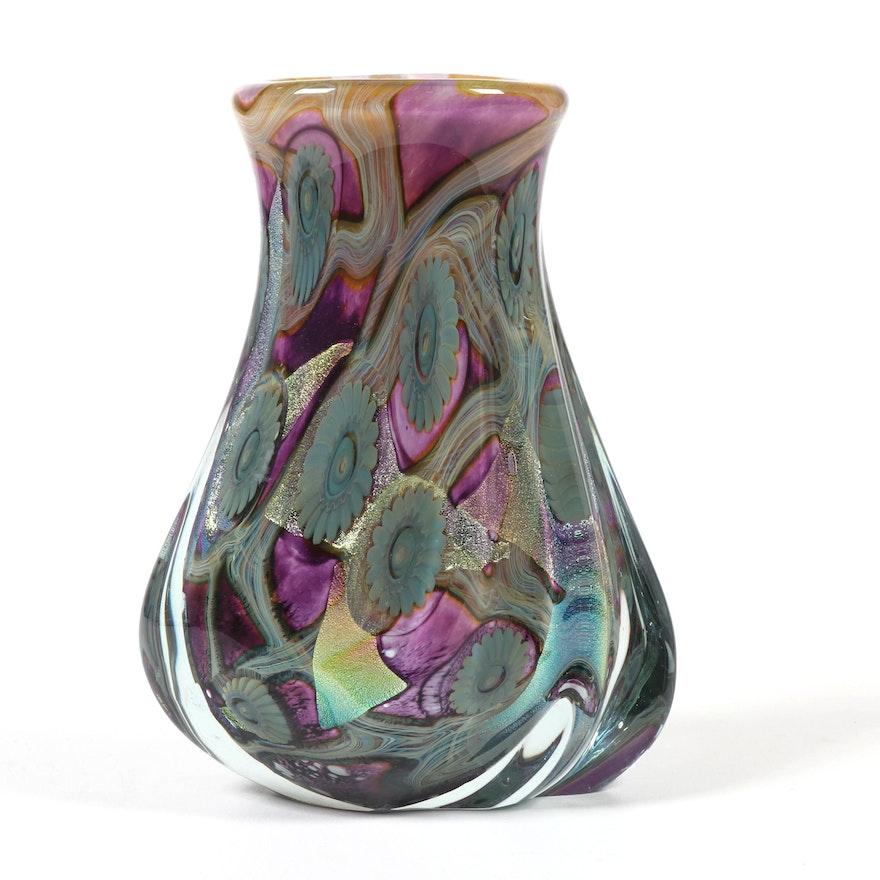 """Robert Eickholt Handblown """"Deep Sea"""" Art Glass Vase, 2005"""