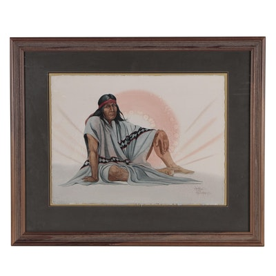 """Arthur Armstrong Watercolor Painting """"Contemplation of the Shaman"""""""