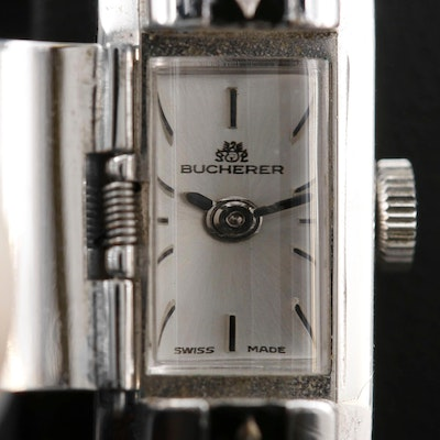 Bucherer Hidden Dial Stainless Steel and Enamel Stem Wind Wristwatch