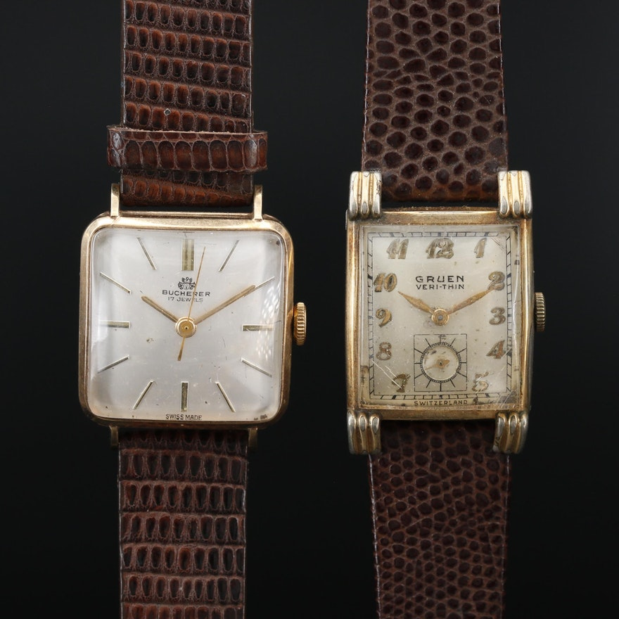 Vintage Bucherer and Gruen Veri-Thin Stem Wind Wristwatches