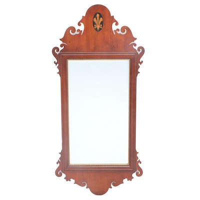 Chippedale Style Cherry and Marquetry Beveled Wall Mirror