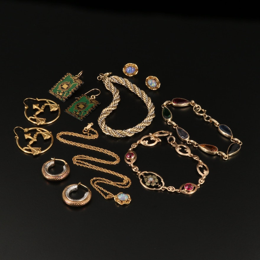 Jewelry Featuring Faux Opal and Gold Filled and Sterling Pieces