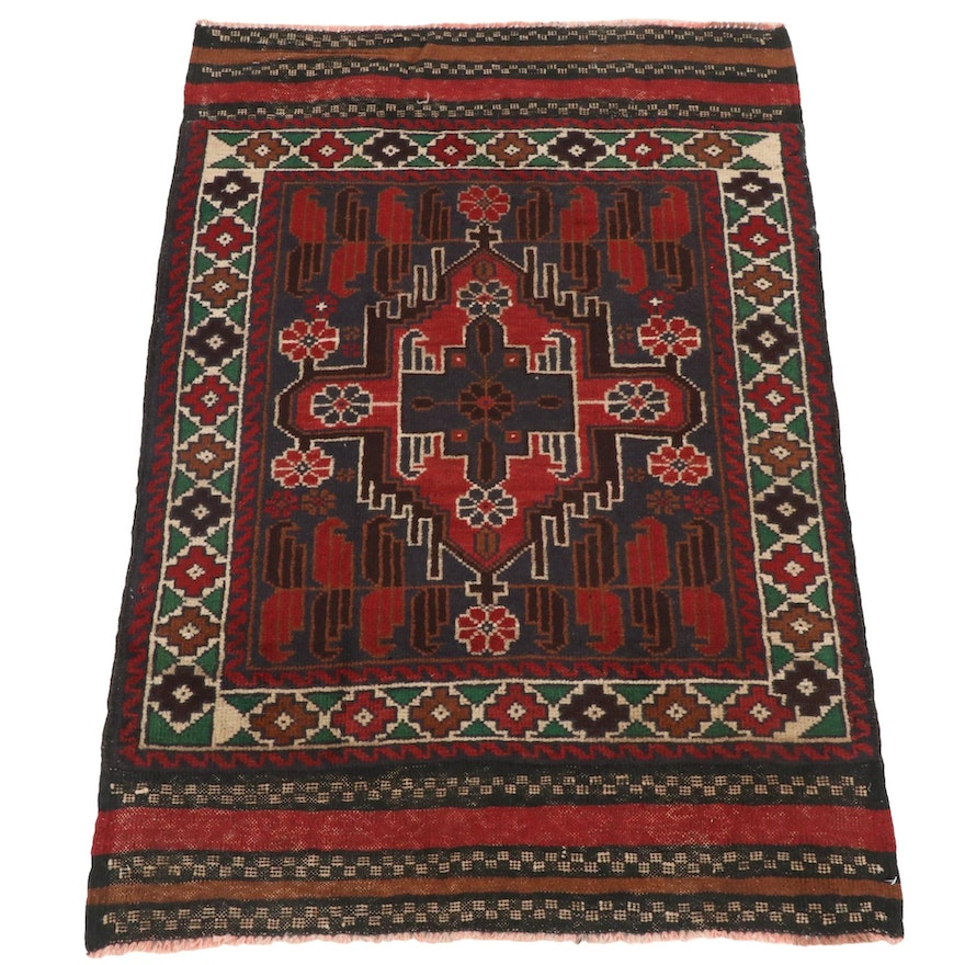 2'11 x 4'4 Hand-Knotted Afghani Tribal Baluch Rug