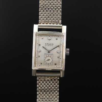 Vintage 14K Gruen Curvex Diamonds and Stem Wind Wristwatch
