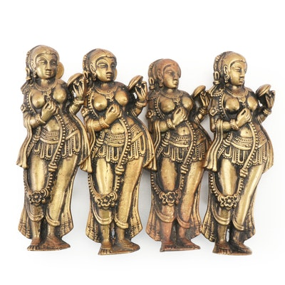 Southeast Asian Cast Brass Figural Door Pulls