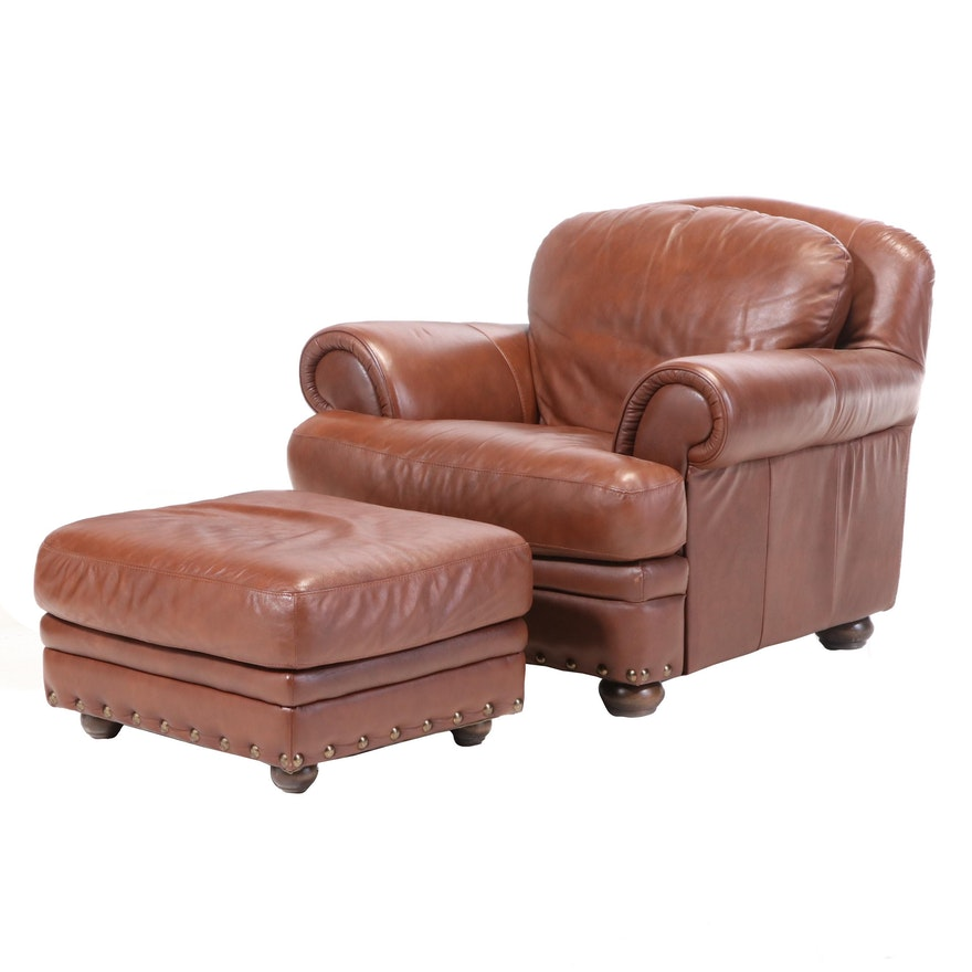 Contemporary Brown Leather Club Chair and Ottoman