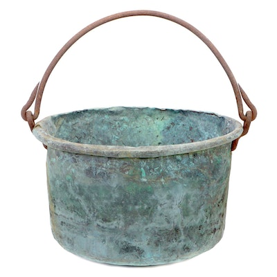 Verdigris Copper and Iron Apple Butter Kettle, Late 19th/Early 20th Century