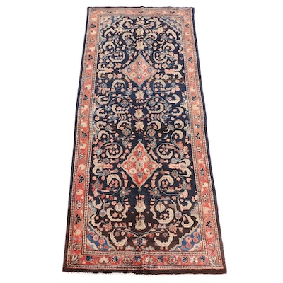 4'1 x 9'9 Hand-Knotted Persian Zenjan Wool Rug