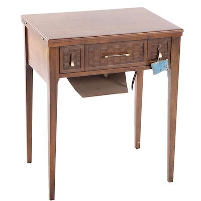 Singer Sewing Machine in Mid Century Modern Walnut Table