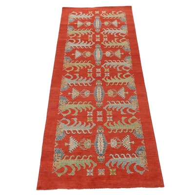 4'3 x 10'9 Hand-Knotted Afghani Turkish Oushak Style Rug