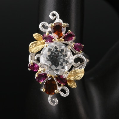 Sterling Silver Rock Crystal Quartz, Rhodolite Garnet and Tourmaline Ring