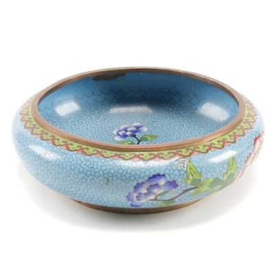 Chinese Cloisonné Decorative Bowl with Floral Motif, Mid to Late 20th Century
